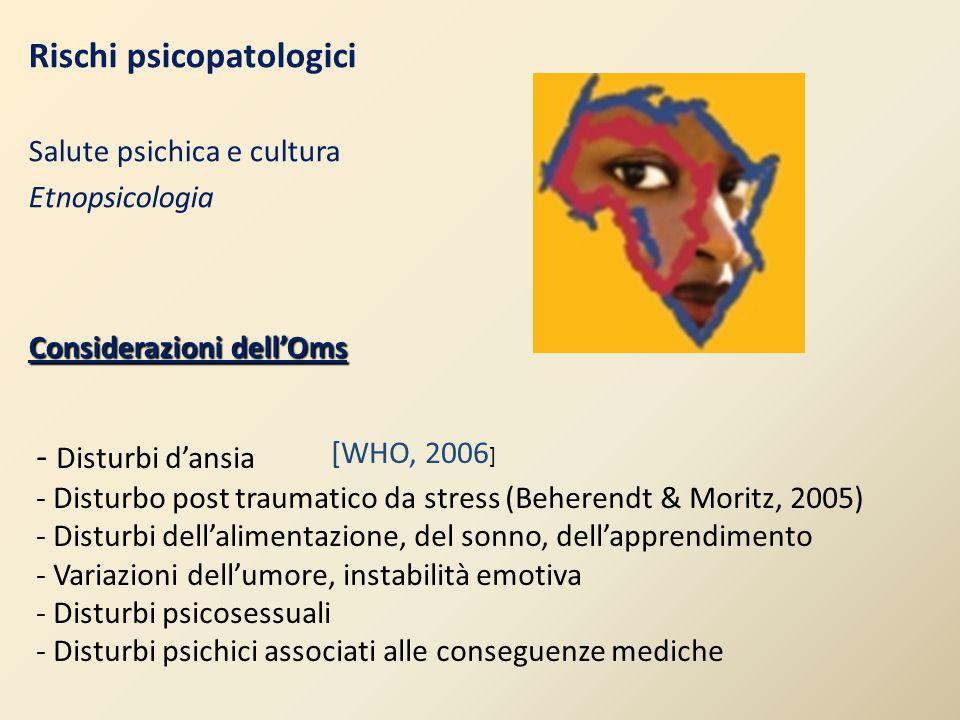 Rischi psicopatologici Salute psichica e cultura Etnopsicologia Considerazioni dell'Oms - Disturbi d'ansia - Disturbo post traumatico da stress (Beher