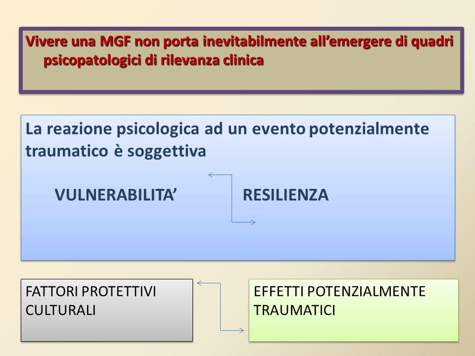 Vivere una MGF non porta inevitabilmente all'emergere di quadri psicopatologici di rilevanza clinica La reazione psicologica ad un evento potenzialmen