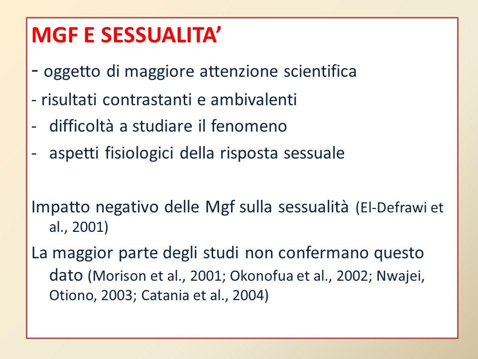 MGF E SESSUALITA' - oggetto di maggiore attenzione scientifica - risultati contrastanti e ambivalenti -difficoltà a studiare il fenomeno -aspetti fisi