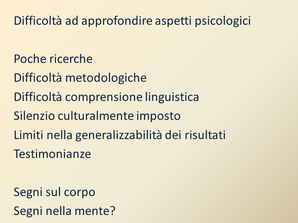 Difficoltà ad approfondire aspetti psicologici Poche ricerche Difficoltà metodologiche Difficoltà comprensione linguistica Silenzio culturalmente impo