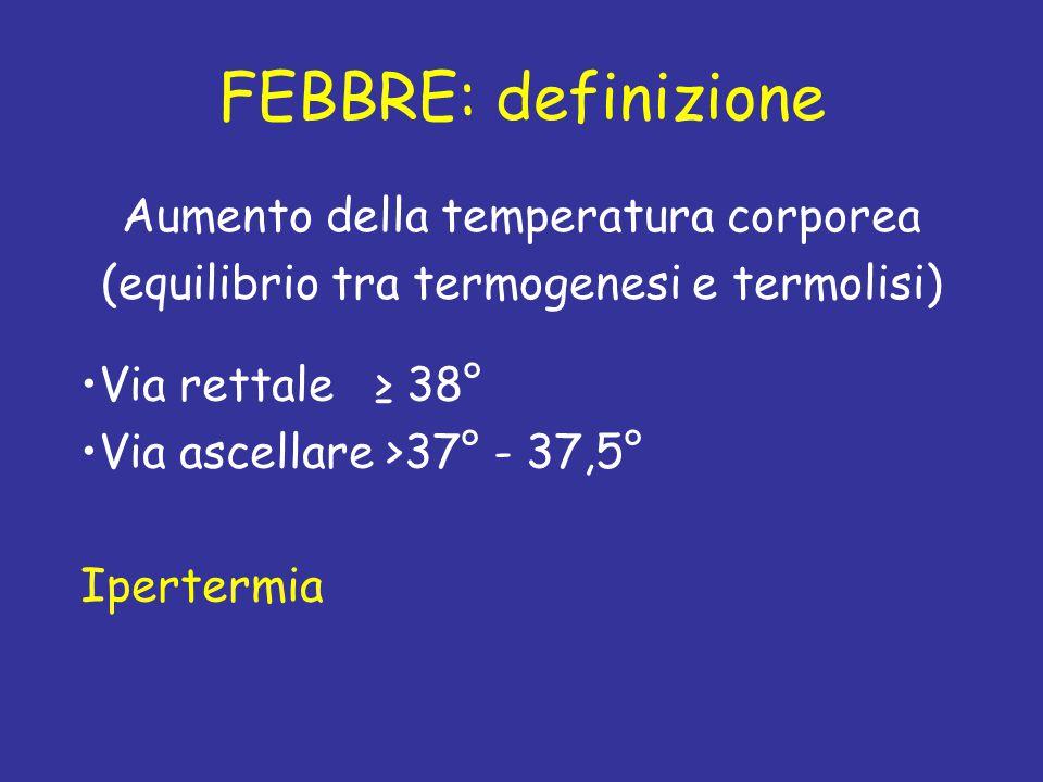 FEBBRE: definizione Aumento della temperatura corporea (equilibrio tra termogenesi e termolisi) Via rettale ≥ 38° Via ascellare >37° - 37,5° Ipertermi