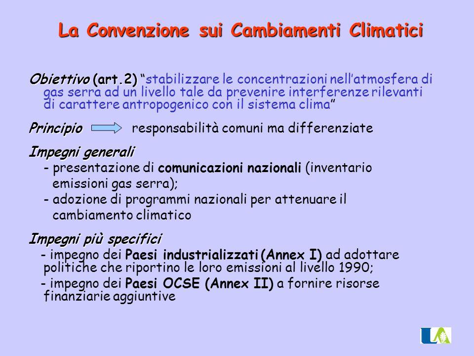"""Obiettivo (art.2) Obiettivo (art.2) """"stabilizzare le concentrazioni nell'atmosfera di gas serra ad un livello tale da prevenire interferenze rilevanti"""