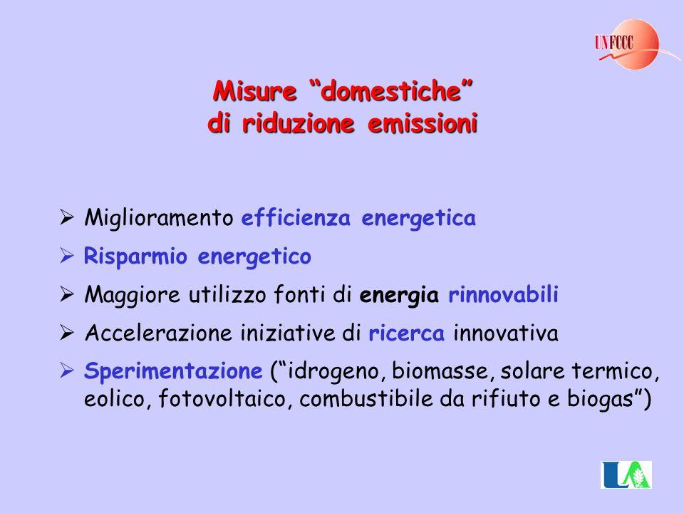 """Misure """"domestiche"""" di riduzione emissioni  Miglioramento efficienza energetica  Risparmio energetico  Maggiore utilizzo fonti di energia rinnovabi"""