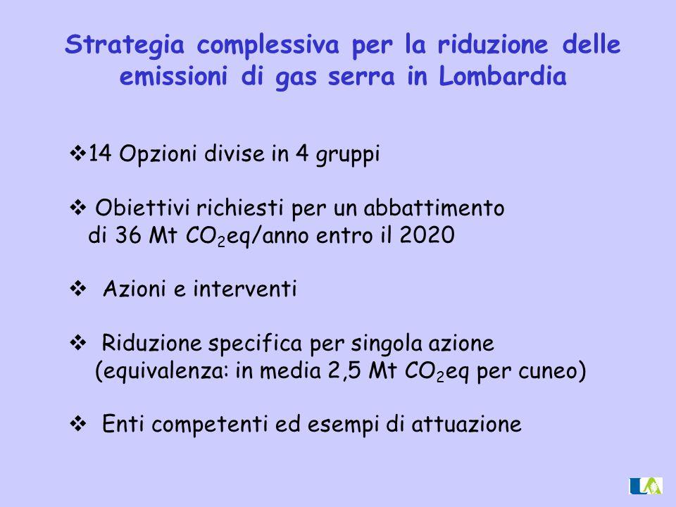  14 Opzioni divise in 4 gruppi  Obiettivi richiesti per un abbattimento di 36 Mt CO 2 eq/anno entro il 2020  Azioni e interventi  Riduzione specif