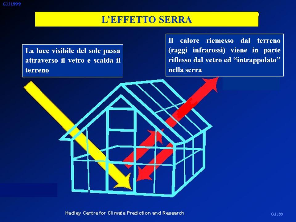 EFFETTO DEI VARI GAS CHE ASSORBONO NELL'INFRAROSSO (GAS EFFETTO SERRA) CO 2 N2ON2O CH 4 Concentrazione (ppm) 380 1,7 0,3 1 21 290 Potenziale effetto serra (riferito all'unità (ppm) di CO 2 )