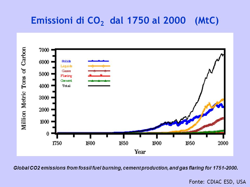 Emissioni di CO 2 dal 1750 al 2000 (MtC) Fonte: CDIAC ESD, USA Global CO2 emissions from fossil fuel burning, cement production, and gas flaring for 1751-2000.