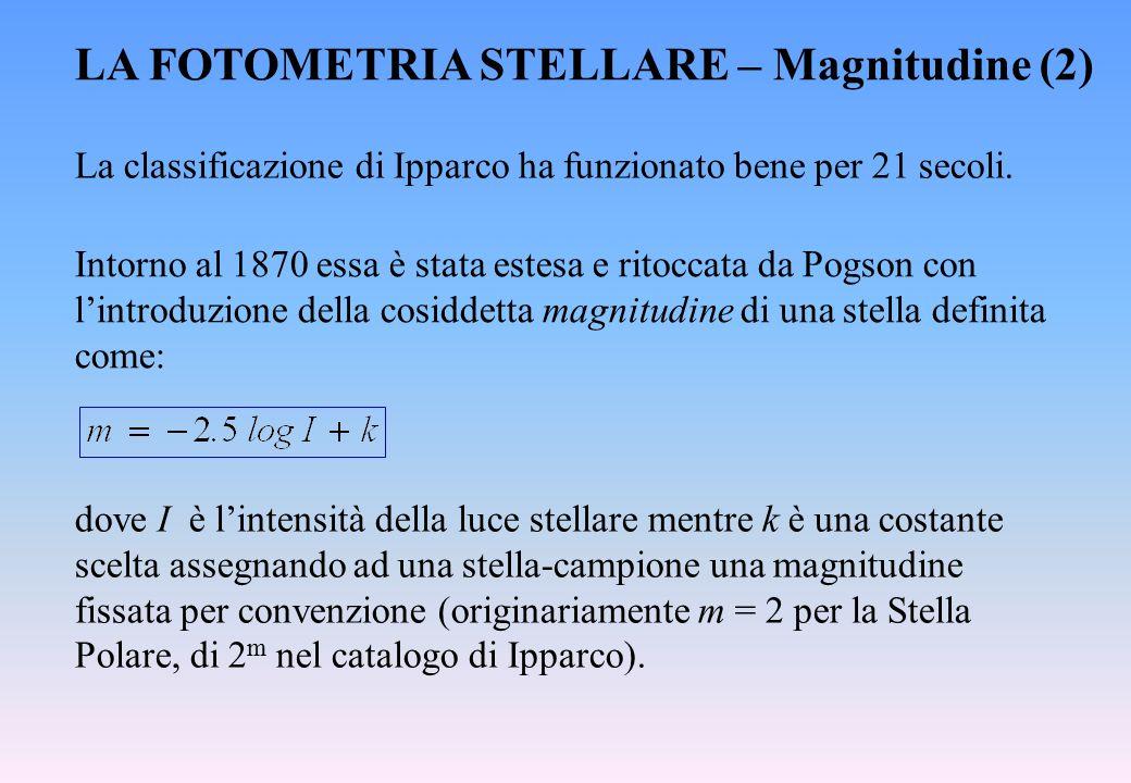 LA FOTOMETRIA STELLARE – Magnitudine (2) La classificazione di Ipparco ha funzionato bene per 21 secoli. Intorno al 1870 essa è stata estesa e ritocca