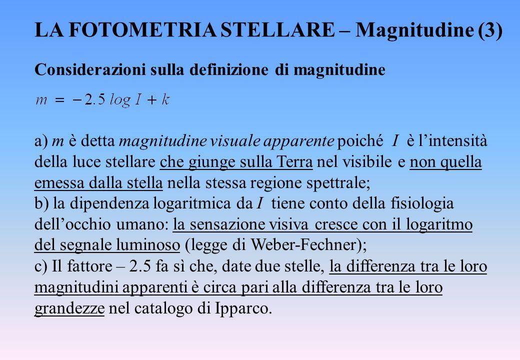 LA FOTOMETRIA STELLARE – Magnitudine (3) Considerazioni sulla definizione di magnitudine a) m è detta magnitudine visuale apparente poiché I è l'inten