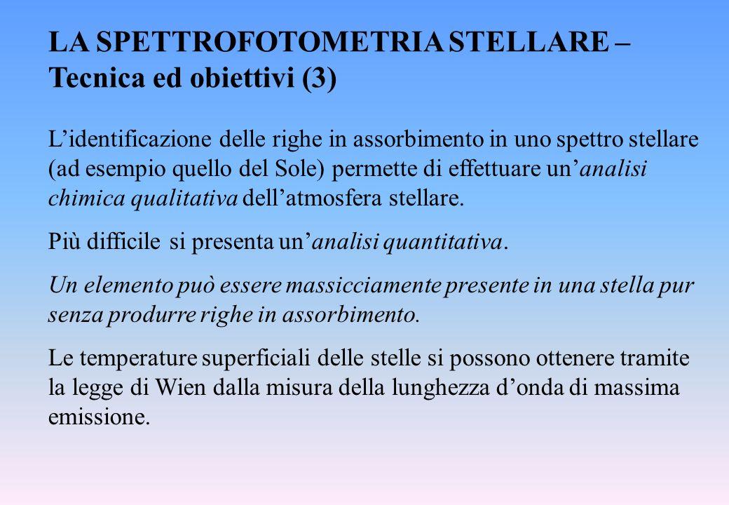 LA SPETTROFOTOMETRIA STELLARE – Tecnica ed obiettivi (3) L'identificazione delle righe in assorbimento in uno spettro stellare (ad esempio quello del