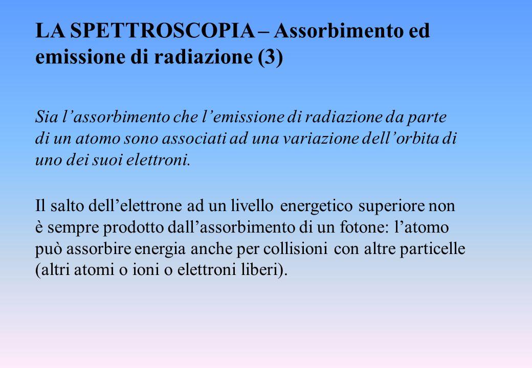 LA SPETTROSCOPIA – Assorbimento ed emissione di radiazione (3) Il salto dell'elettrone ad un livello energetico superiore non è sempre prodotto dall'a