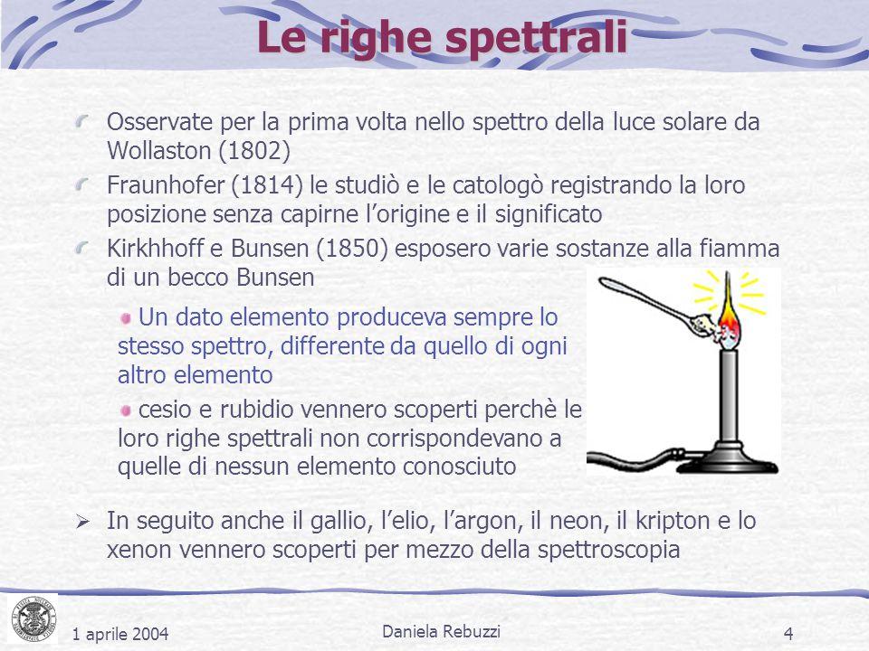 1 aprile 2004 Daniela Rebuzzi 4 Le righe spettrali Osservate per la prima volta nello spettro della luce solare da Wollaston (1802) Fraunhofer (1814)