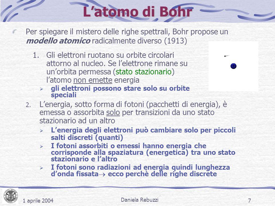1 aprile 2004 Daniela Rebuzzi 7 L'atomo di Bohr Per spiegare il mistero delle righe spettrali, Bohr propose un modello atomico radicalmente diverso (1
