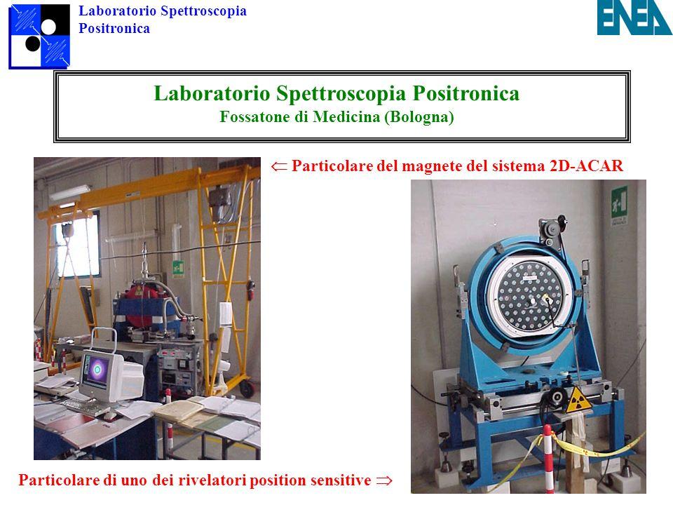 Laboratorio Spettroscopia Positronica Laboratorio Spettroscopia Positronica Fossatone di Medicina (Bologna)  Particolare del magnete del sistema 2D-ACAR Particolare di uno dei rivelatori position sensitive 