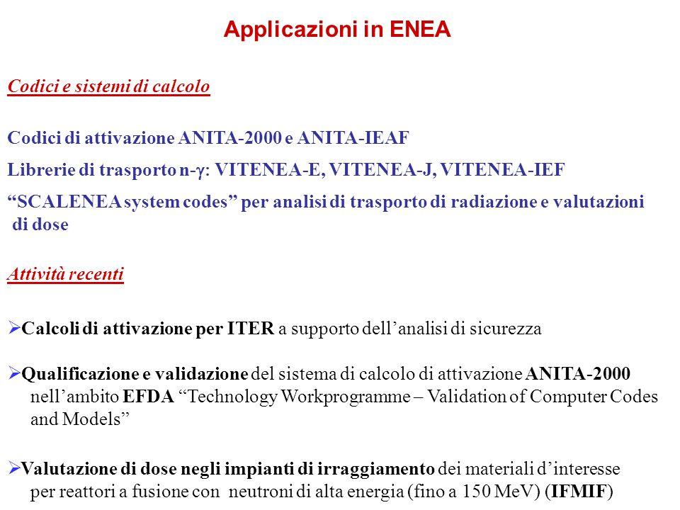 Applicazioni in ENEA Codici e sistemi di calcolo Codici di attivazione ANITA-2000 e ANITA-IEAF Librerie di trasporto n-  VITENEA-E, VITENEA-J, VITENEA-IEF SCALENEA system codes per analisi di trasporto di radiazione e valutazioni di dose Attività recenti  Calcoli di attivazione per ITER a supporto dell'analisi di sicurezza  Qualificazione e validazione del sistema di calcolo di attivazione ANITA-2000 nell'ambito EFDA Technology Workprogramme – Validation of Computer Codes and Models  Valutazione di dose negli impianti di irraggiamento dei materiali d'interesse per reattori a fusione con neutroni di alta energia (fino a 150 MeV) (IFMIF)