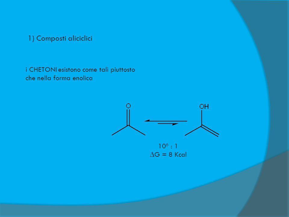 2) Composti aromatici 1 : 10 10 ∆G aromaticità = 36 Kcal cicloesadienone fenolo In questi casi, in genere prevale la forma enolica stabilizzata dall'aromaticità
