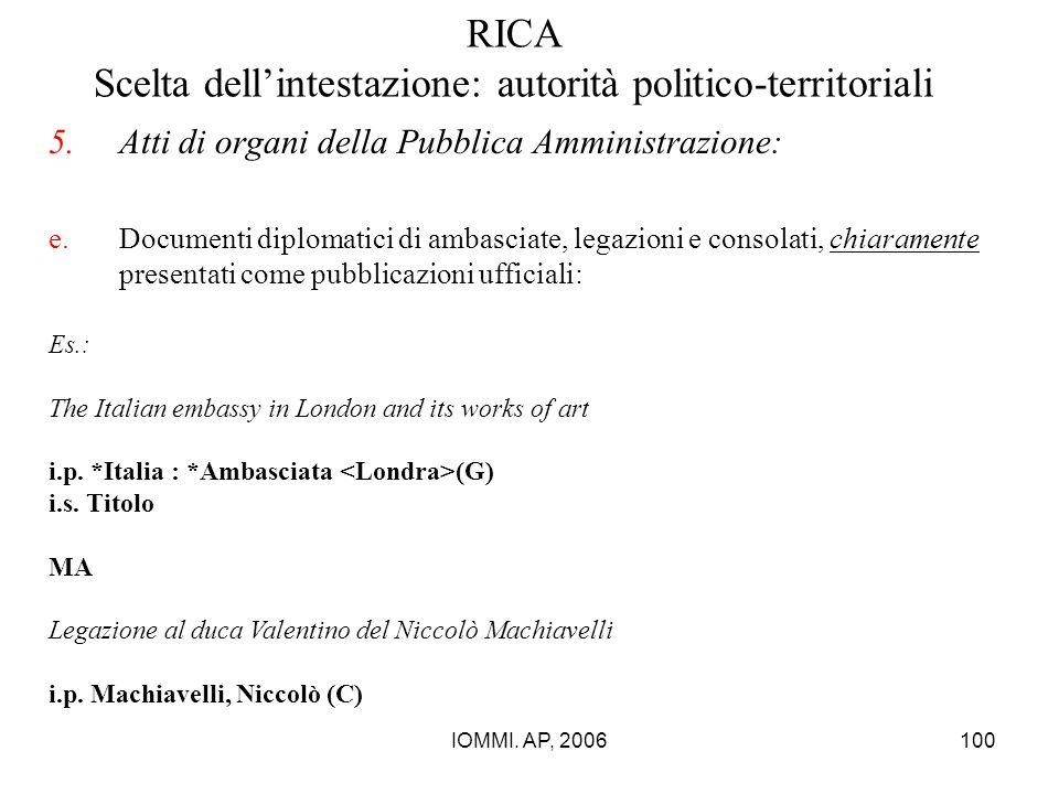 IOMMI. AP, 2006100 RICA Scelta dell'intestazione: autorità politico-territoriali 5.Atti di organi della Pubblica Amministrazione: e.Documenti diplomat