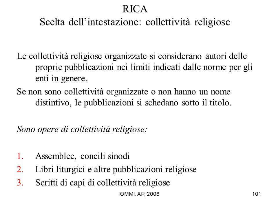 IOMMI. AP, 2006101 RICA Scelta dell'intestazione: collettività religiose Le collettività religiose organizzate si considerano autori delle proprie pub
