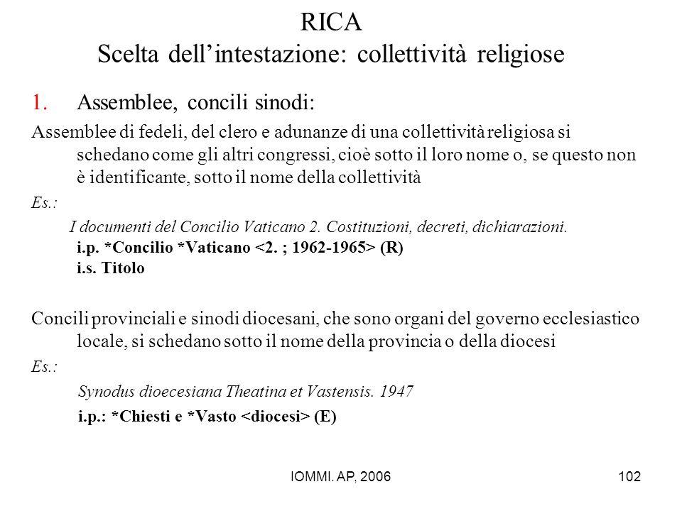 IOMMI. AP, 2006102 RICA Scelta dell'intestazione: collettività religiose 1.Assemblee, concili sinodi: Assemblee di fedeli, del clero e adunanze di una