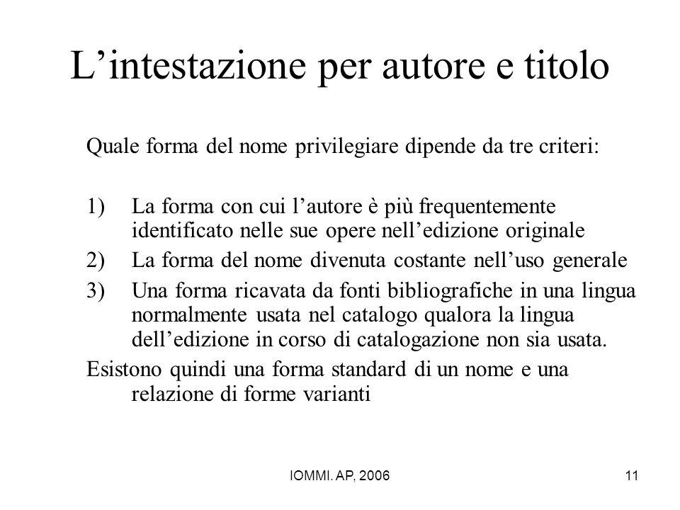 IOMMI. AP, 200611 L'intestazione per autore e titolo Quale forma del nome privilegiare dipende da tre criteri: 1)La forma con cui l'autore è più frequ