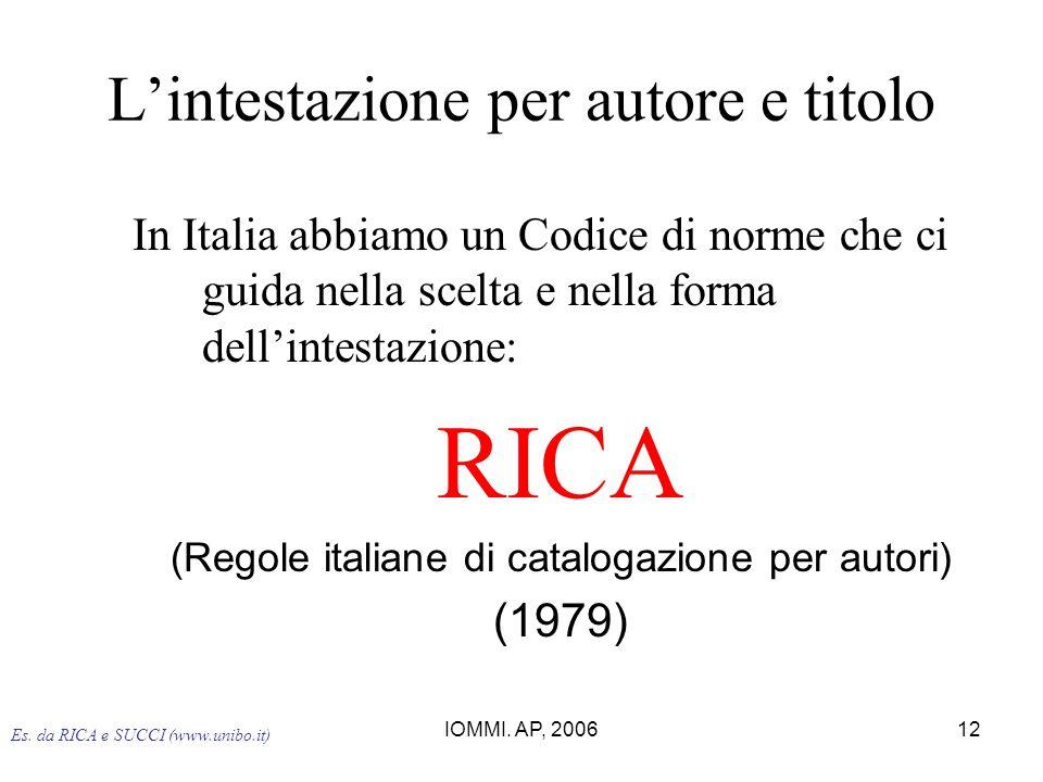 IOMMI. AP, 200612 L'intestazione per autore e titolo In Italia abbiamo un Codice di norme che ci guida nella scelta e nella forma dell'intestazione: R