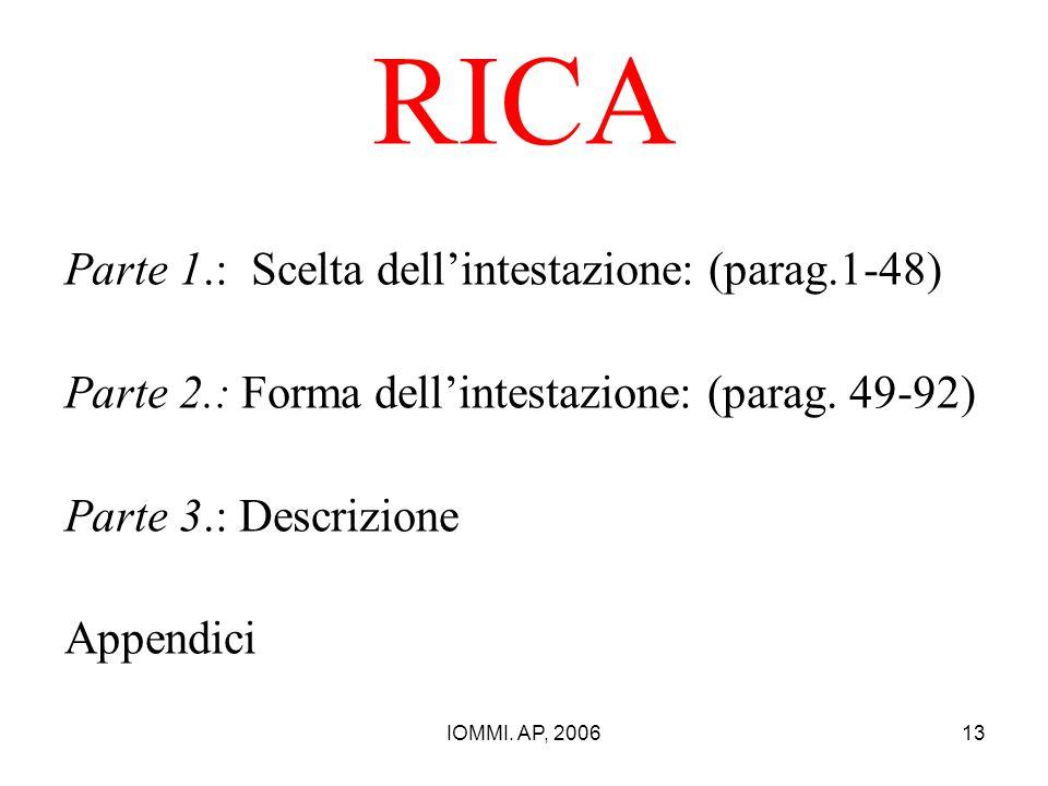IOMMI. AP, 200613 RICA Parte 1.: Scelta dell'intestazione: (parag.1-48) Parte 2.: Forma dell'intestazione: (parag. 49-92) Parte 3.: Descrizione Append