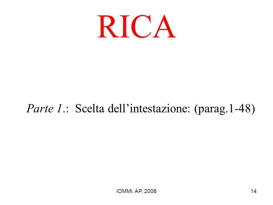 IOMMI. AP, 200614 RICA Parte 1.: Scelta dell'intestazione: (parag.1-48)