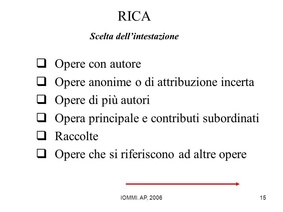 IOMMI. AP, 200615 RICA Scelta dell'intestazione  Opere con autore  Opere anonime o di attribuzione incerta  Opere di più autori  Opera principale