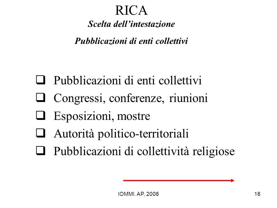 IOMMI. AP, 200616 RICA Scelta dell'intestazione Pubblicazioni di enti collettivi  Pubblicazioni di enti collettivi  Congressi, conferenze, riunioni