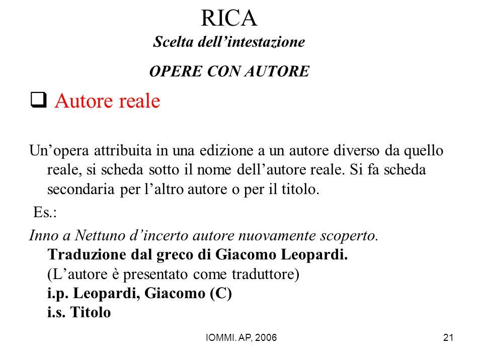 IOMMI. AP, 200621 RICA Scelta dell'intestazione OPERE CON AUTORE  Autore reale Un'opera attribuita in una edizione a un autore diverso da quello real