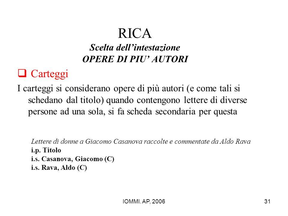 IOMMI. AP, 200631 RICA Scelta dell'intestazione OPERE DI PIU' AUTORI  Carteggi I carteggi si considerano opere di più autori (e come tali si schedano