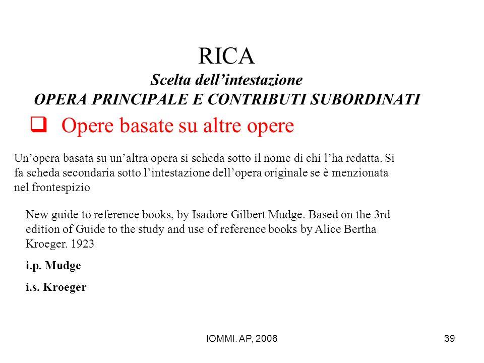 IOMMI. AP, 200639 RICA Scelta dell'intestazione OPERA PRINCIPALE E CONTRIBUTI SUBORDINATI  Opere basate su altre opere Un'opera basata su un'altra op