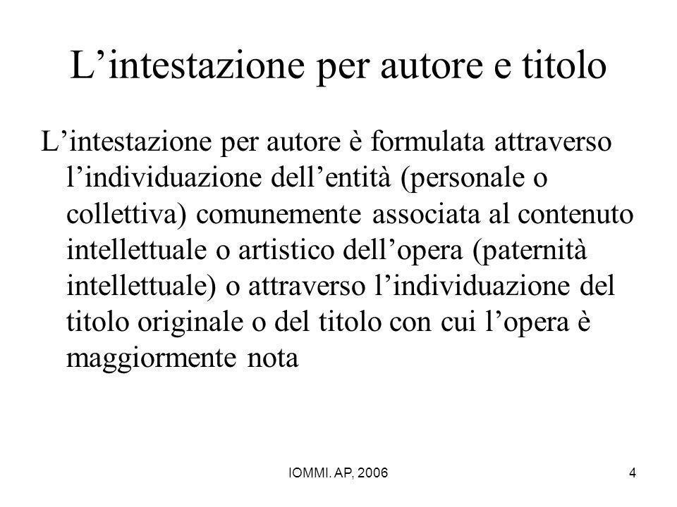 IOMMI. AP, 20064 L'intestazione per autore e titolo L'intestazione per autore è formulata attraverso l'individuazione dell'entità (personale o collett