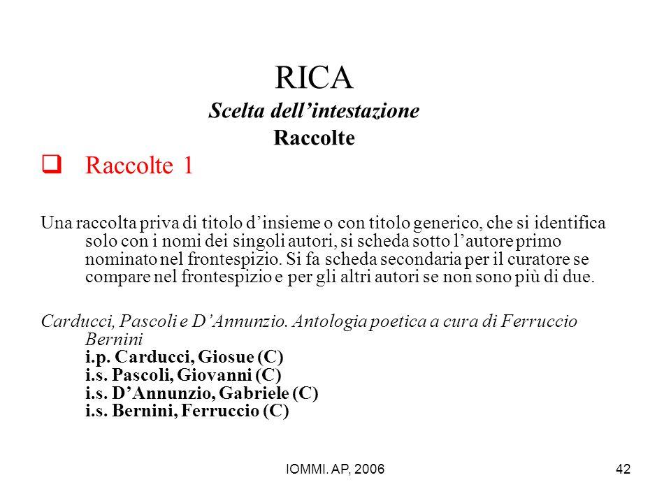 IOMMI. AP, 200642 RICA Scelta dell'intestazione Raccolte  Raccolte 1 Una raccolta priva di titolo d'insieme o con titolo generico, che si identifica