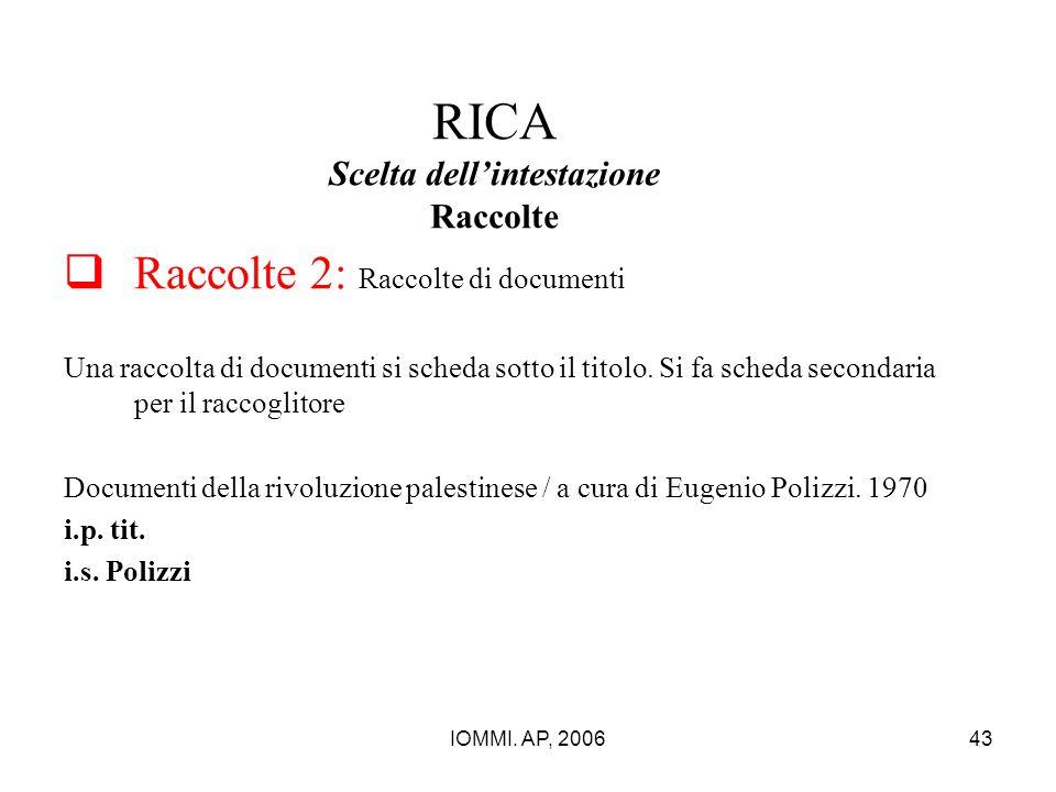 IOMMI. AP, 200643 RICA Scelta dell'intestazione Raccolte  Raccolte 2: Raccolte di documenti Una raccolta di documenti si scheda sotto il titolo. Si f