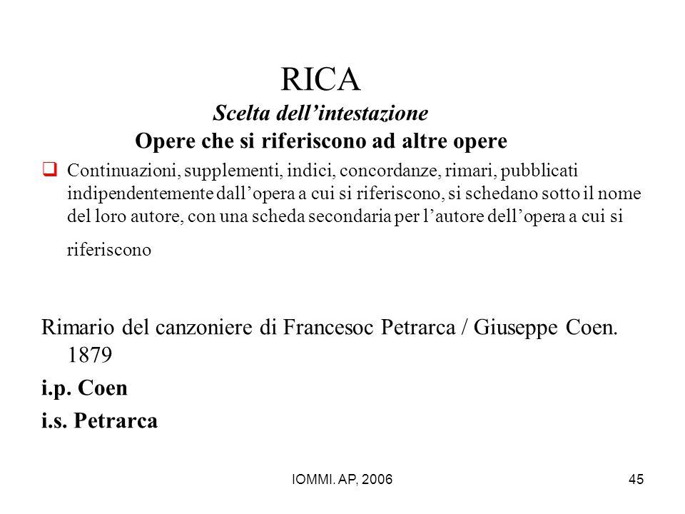 IOMMI. AP, 200645 RICA Scelta dell'intestazione Opere che si riferiscono ad altre opere  Continuazioni, supplementi, indici, concordanze, rimari, pub