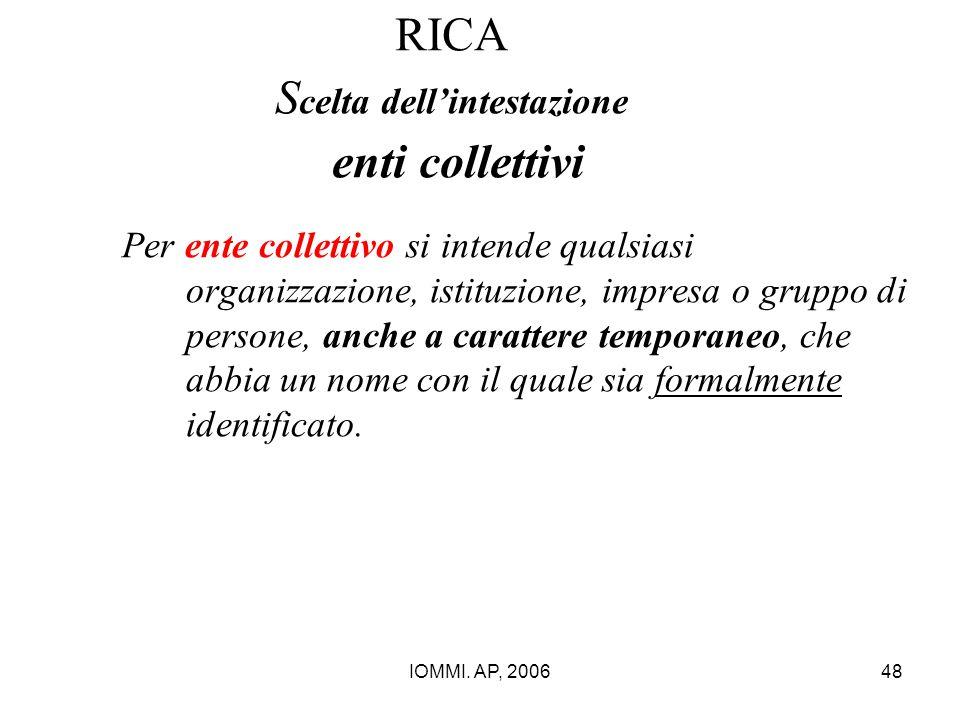 IOMMI. AP, 200648 RICA S celta dell'intestazione enti collettivi Per ente collettivo si intende qualsiasi organizzazione, istituzione, impresa o grupp