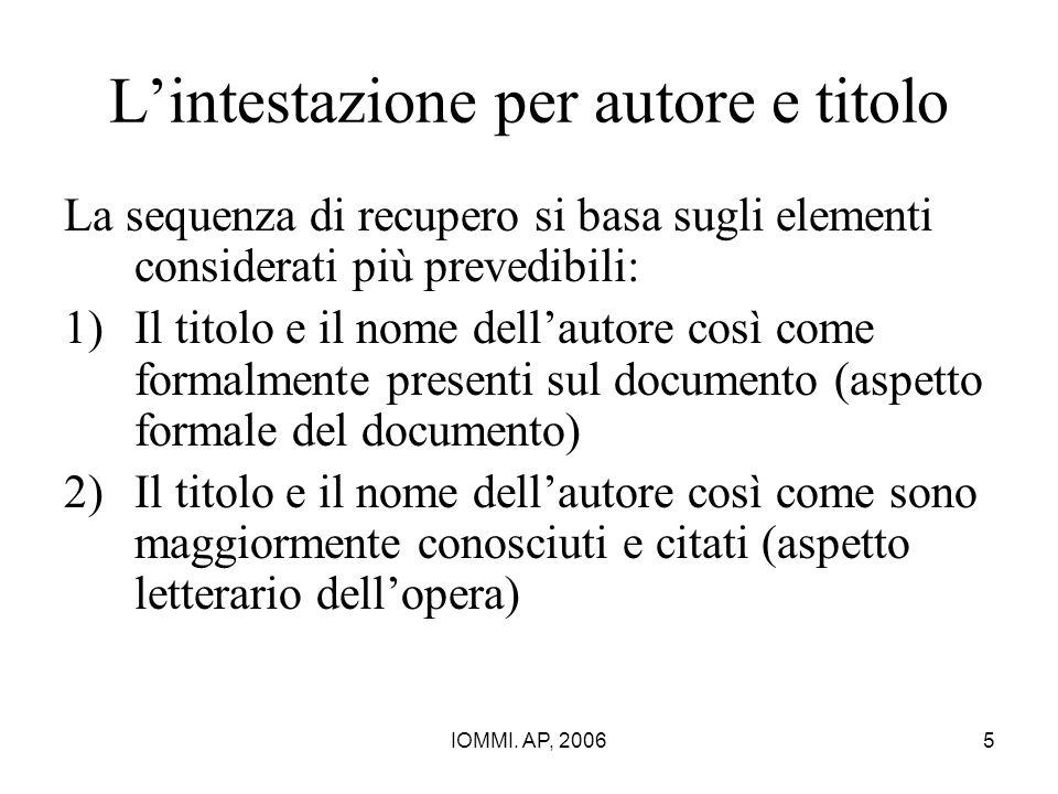 IOMMI. AP, 20065 L'intestazione per autore e titolo La sequenza di recupero si basa sugli elementi considerati più prevedibili: 1)Il titolo e il nome