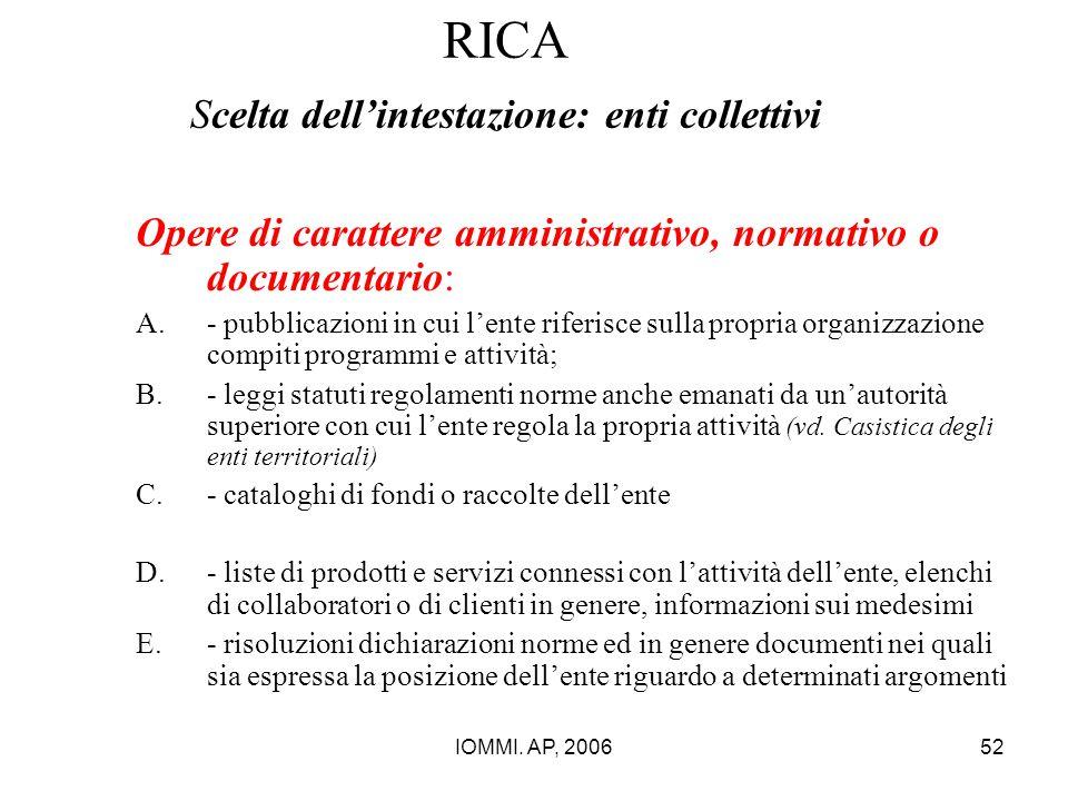 IOMMI. AP, 200652 RICA Scelta dell'intestazione: enti collettivi Opere di carattere amministrativo, normativo o documentario: A.- pubblicazioni in cui