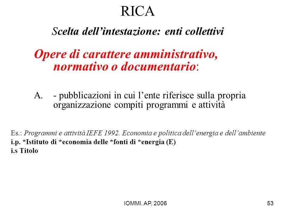 IOMMI. AP, 200653 RICA Scelta dell'intestazione: enti collettivi Opere di carattere amministrativo, normativo o documentario: A.- pubblicazioni in cui