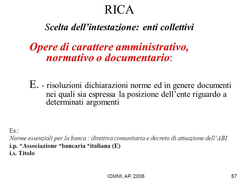 IOMMI. AP, 200657 RICA Scelta dell'intestazione: enti collettivi Opere di carattere amministrativo, normativo o documentario: E. - risoluzioni dichiar