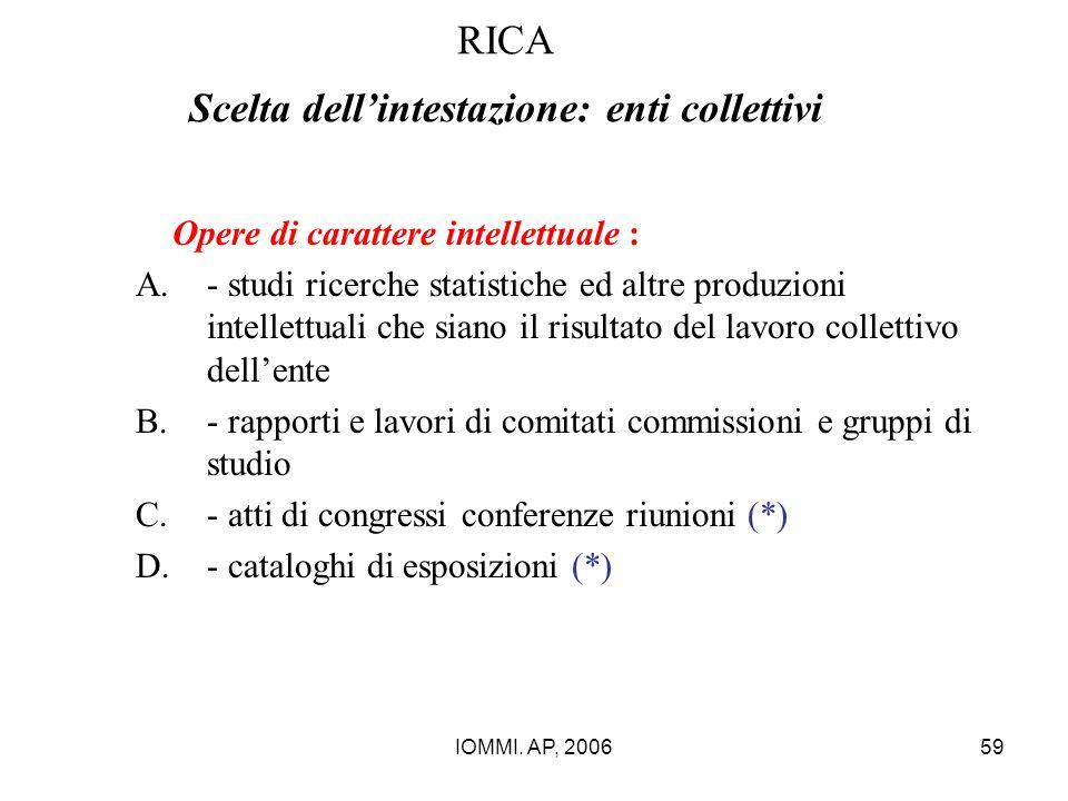 IOMMI. AP, 200659 RICA Scelta dell'intestazione: enti collettivi Opere di carattere intellettuale : A.- studi ricerche statistiche ed altre produzioni