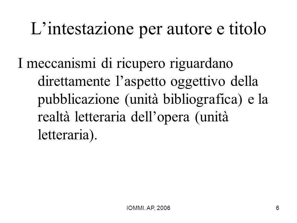 IOMMI. AP, 20066 L'intestazione per autore e titolo I meccanismi di ricupero riguardano direttamente l'aspetto oggettivo della pubblicazione (unità bi