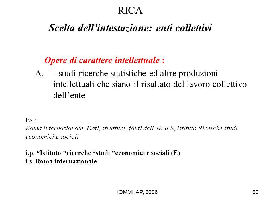 IOMMI. AP, 200660 RICA Scelta dell'intestazione: enti collettivi Opere di carattere intellettuale : A.- studi ricerche statistiche ed altre produzioni