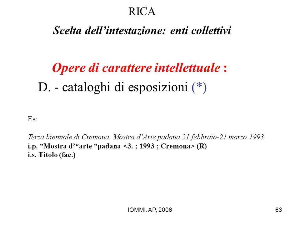 IOMMI. AP, 200663 RICA Scelta dell'intestazione: enti collettivi Opere di carattere intellettuale : D. - cataloghi di esposizioni (*) Es: Terza bienna