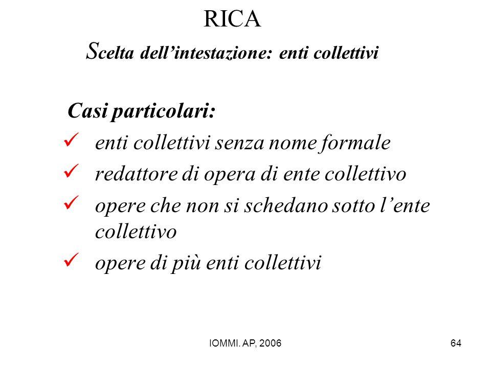 IOMMI. AP, 200664 RICA S celta dell'intestazione: enti collettivi Casi particolari: enti collettivi senza nome formale redattore di opera di ente coll