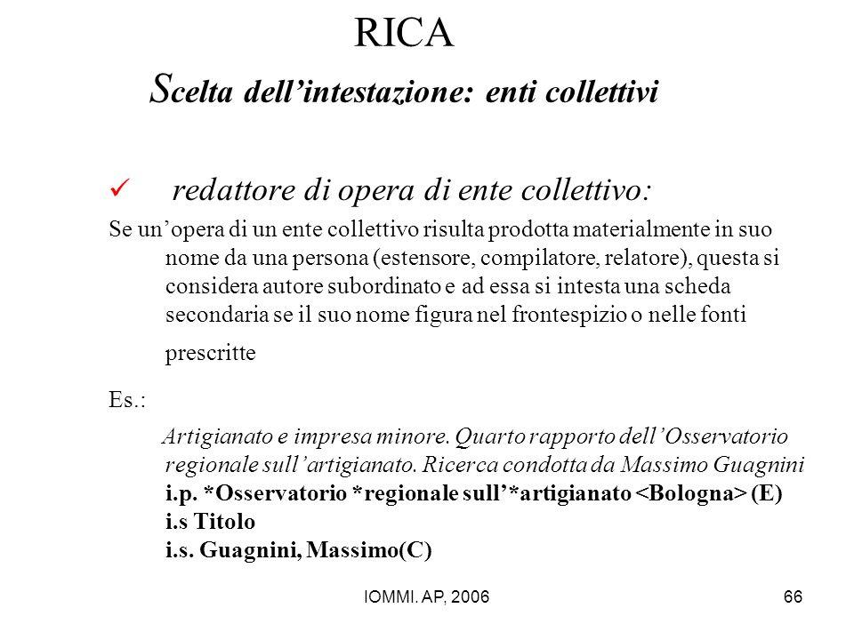 IOMMI. AP, 200666 RICA S celta dell'intestazione: enti collettivi redattore di opera di ente collettivo: Se un'opera di un ente collettivo risulta pro