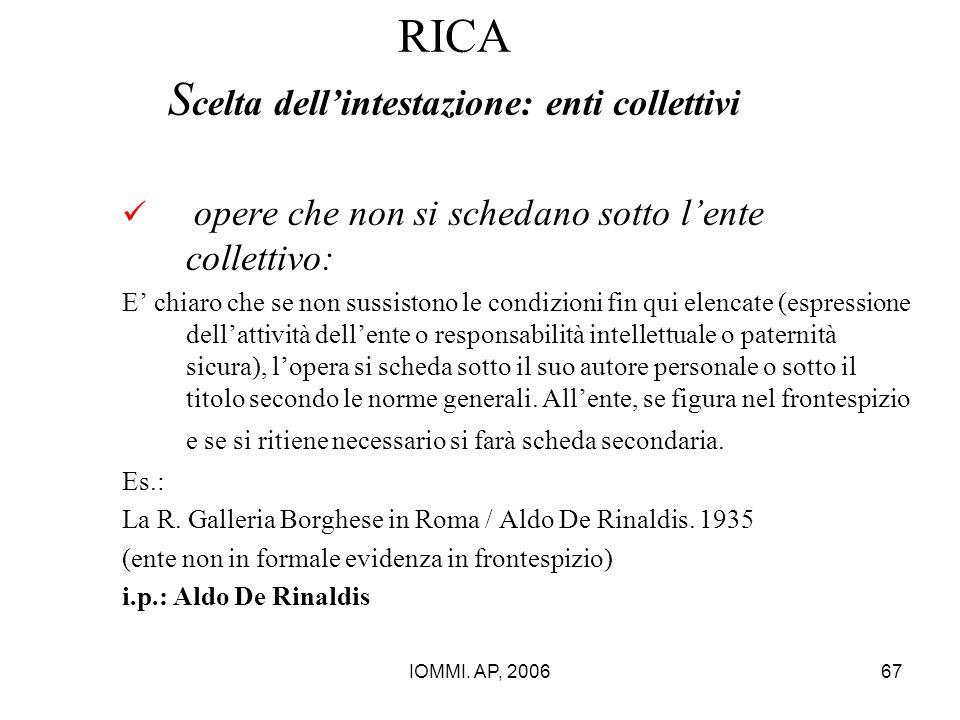 IOMMI. AP, 200667 RICA S celta dell'intestazione: enti collettivi opere che non si schedano sotto l'ente collettivo: E' chiaro che se non sussistono l
