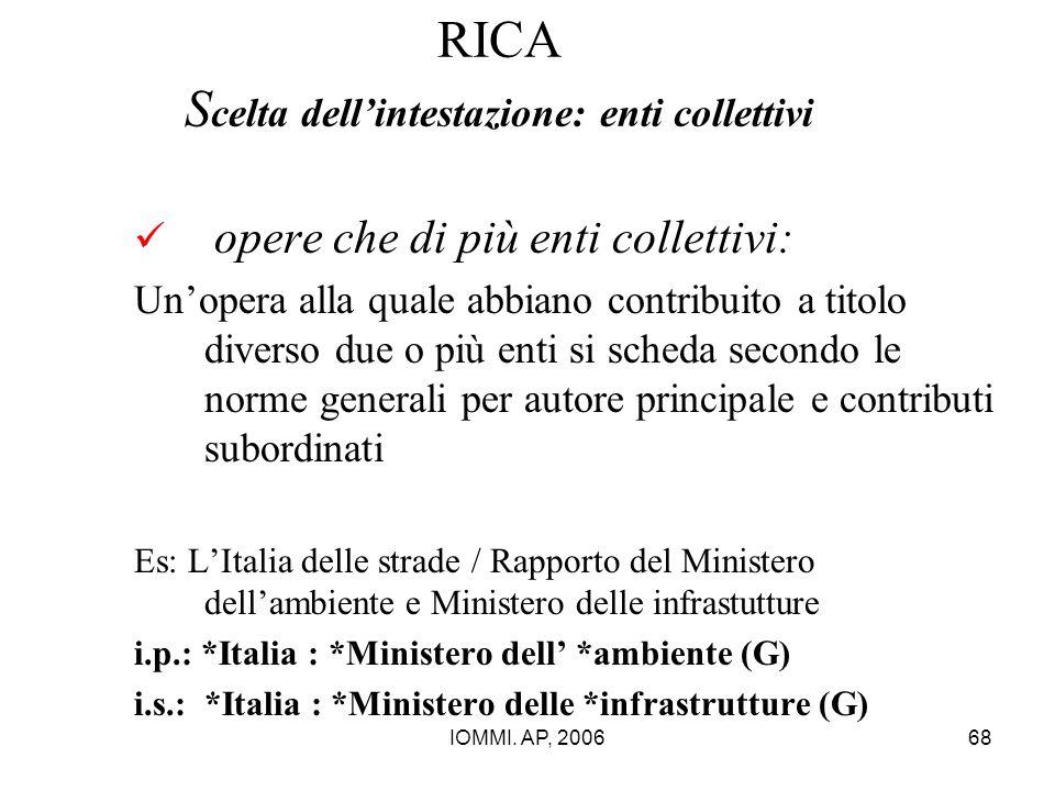 IOMMI. AP, 200668 RICA S celta dell'intestazione: enti collettivi opere che di più enti collettivi: Un'opera alla quale abbiano contribuito a titolo d