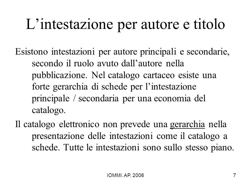 IOMMI. AP, 20067 L'intestazione per autore e titolo Esistono intestazioni per autore principali e secondarie, secondo il ruolo avuto dall'autore nella