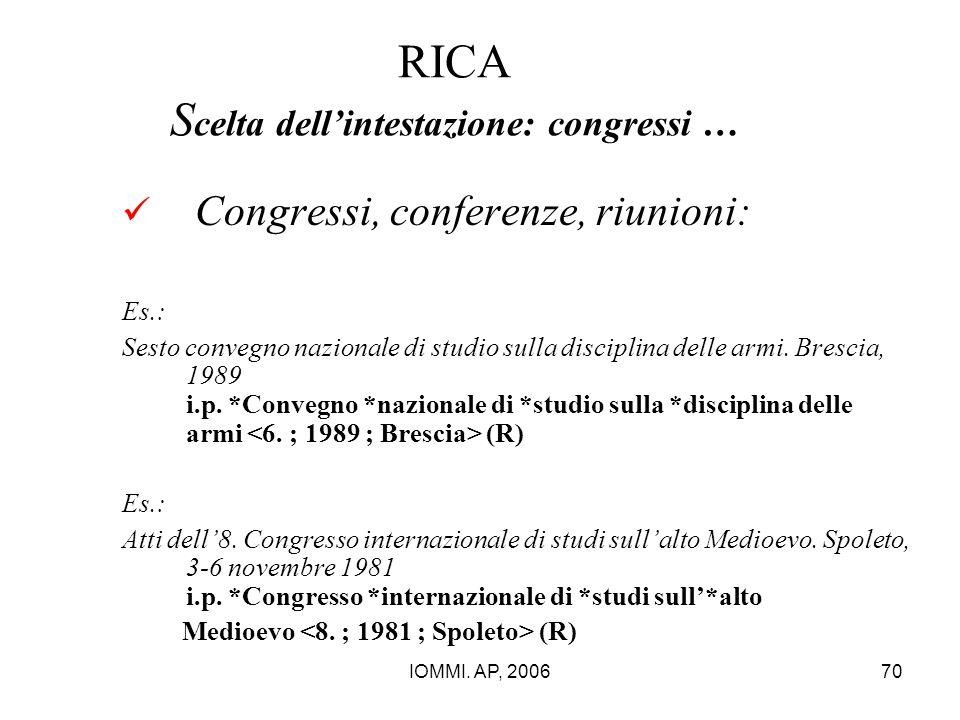 IOMMI. AP, 200670 RICA S celta dell'intestazione: congressi … Congressi, conferenze, riunioni: Es.: Sesto convegno nazionale di studio sulla disciplin